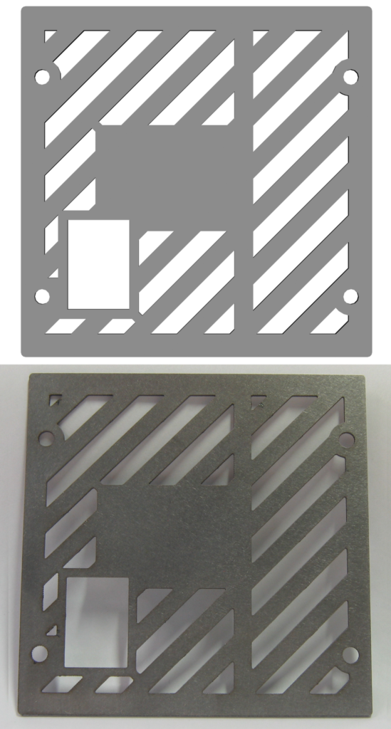 The before and after of the laser cutting process