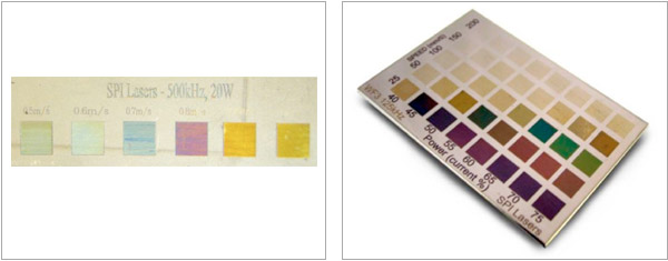 Figure 1: Colour marking, on titanium, showing colour variation based on changing marking speed. Figure 2: Colour swatches, on stainless steel, made at 125 kHz showing the effect of scan speed and average power – marked with an SPI fiber laser.