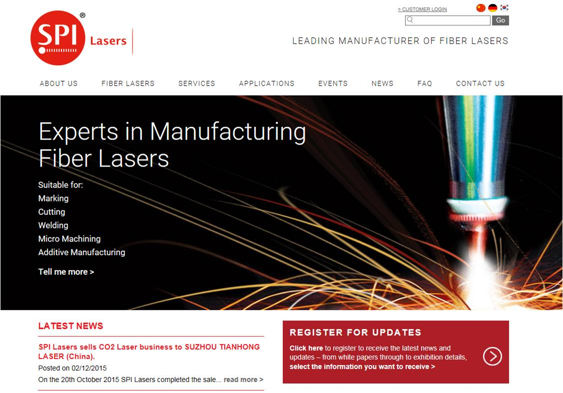 SPI Lasers launches new customer focused website
