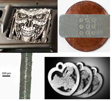 Figure 3. These images demonstrate a range of applications possible from a fixed optical configuration. A 70-W MOPA configured with industry-standard optics (a 10-mm aperture scanner with 163-mm f-Theta lens) is electronically configured to produce distinctly different process results. Clockwise from top left: decorative deep engraving of aluminum for firearms; dissimilar metal joining of aluminum to copper; cutting, marking, and engraving of precious metals for jewelry; and slitting of battery foils where separate settings are used to first ablate the coating material and then cut the metal foil. See reference 2.