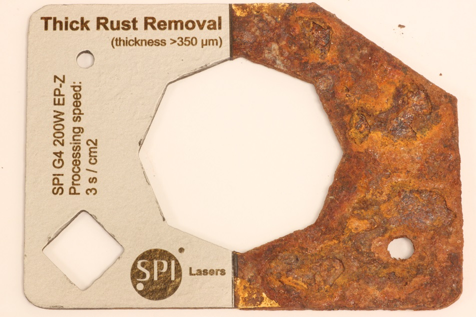 Thick Rust Removal from Stainless Steel with a Pulsed Fiber Laser