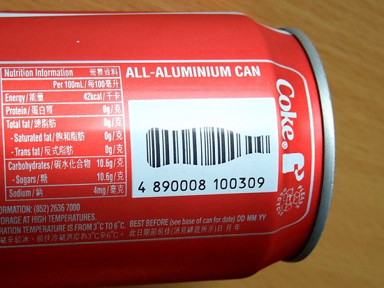 An example of a barcode marking, as seen on a can of coca cola