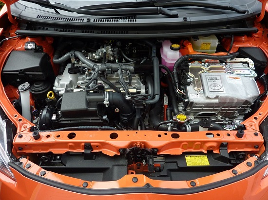 A view under the bonnet of a Toyota Prius hybrid electric car